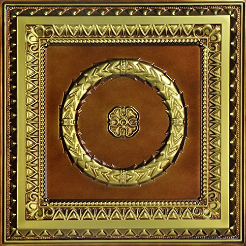 Laurel Wreath - Faux Tin Ceiling Tile - Brushed Brass 25-Pack