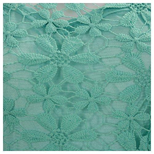 SODIAL(R) Nouvelle mode Mini robe de crochet dentelle florale Robe en mousseline de soie pour femme Vert XL