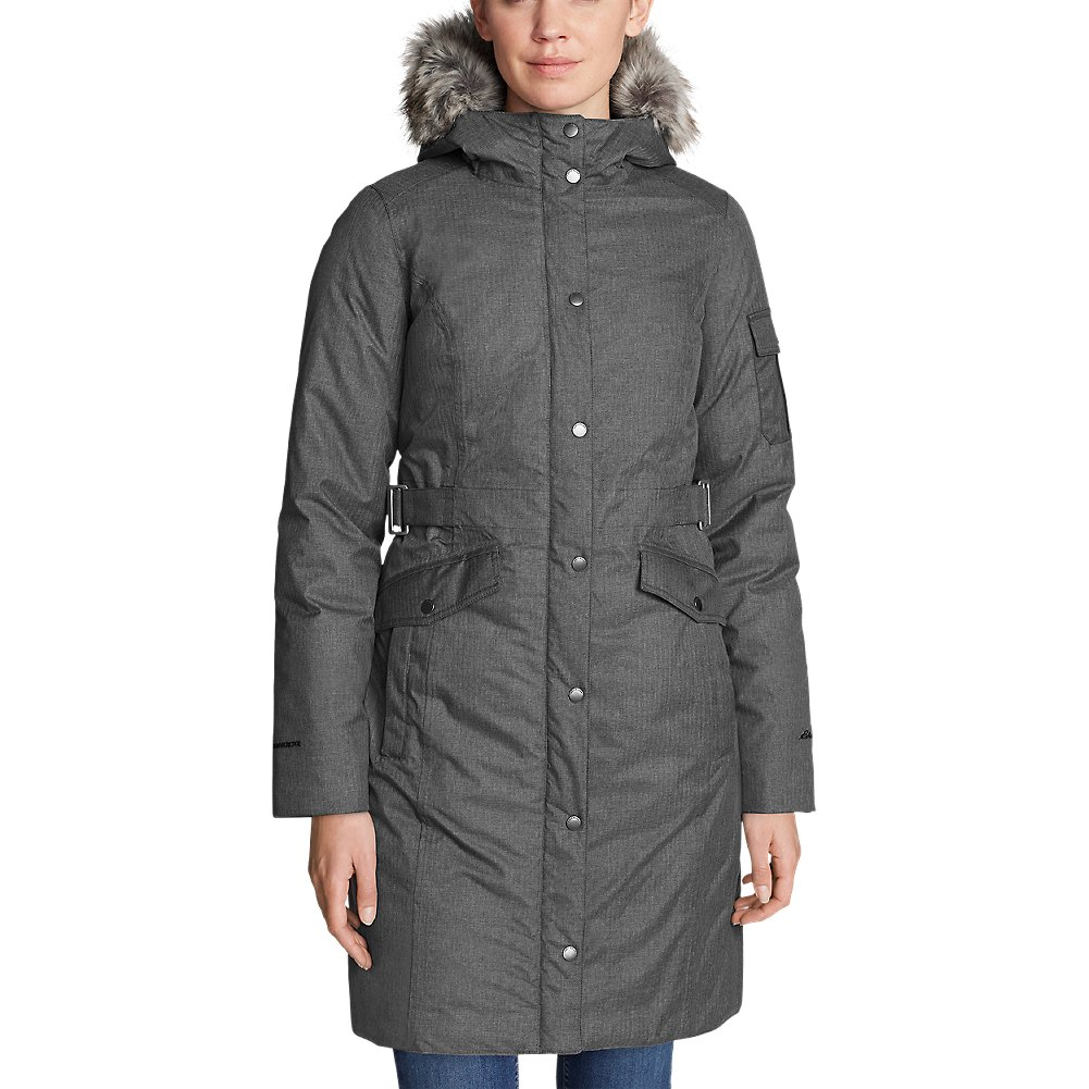 Eddie Bauer Women's Superior 3.0 Stadium Coat, Dk Charcoal Htr Petite XL