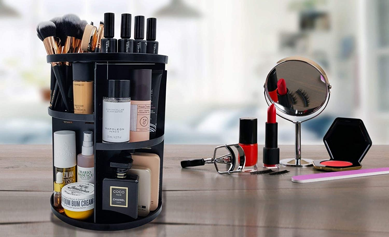 Luxx Chicc 360 Rotating Makeup Organizer, Cosmetics Carousel with 8 Cubbies Eliminates Bathroom Countertop Clutter and Keeps Your Favorite Beauty Products at Your Fingertips 12.2 H x 9.06 W