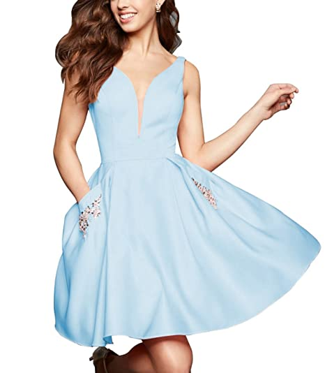 1a735164856 Momabridal Short V Neck Homecoming Dresses Satin Prom Party Formal Gowns  with Pocket at Amazon Women s Clothing store