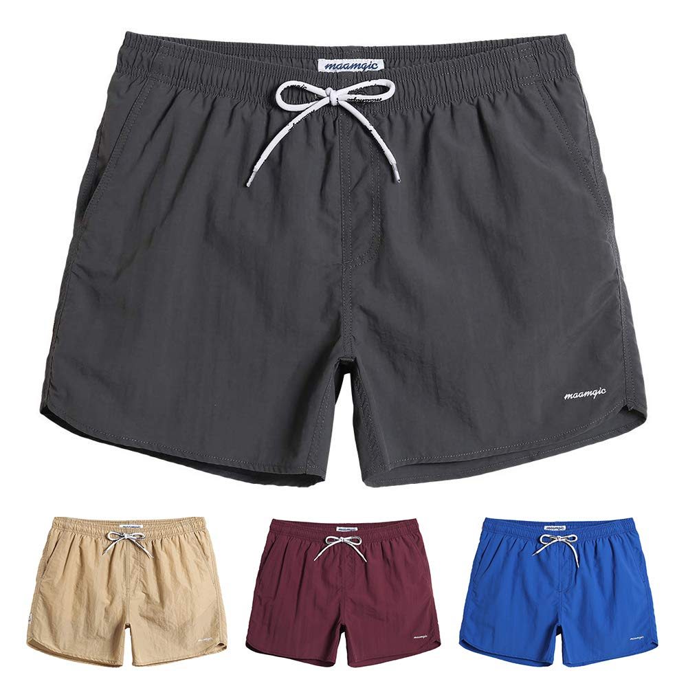 MaaMgic Mens Boys Short Solid Swim Trunks with Mesh Lining Quick Dry Mens Bathing Suits Swim Shorts, Grey by MaaMgic