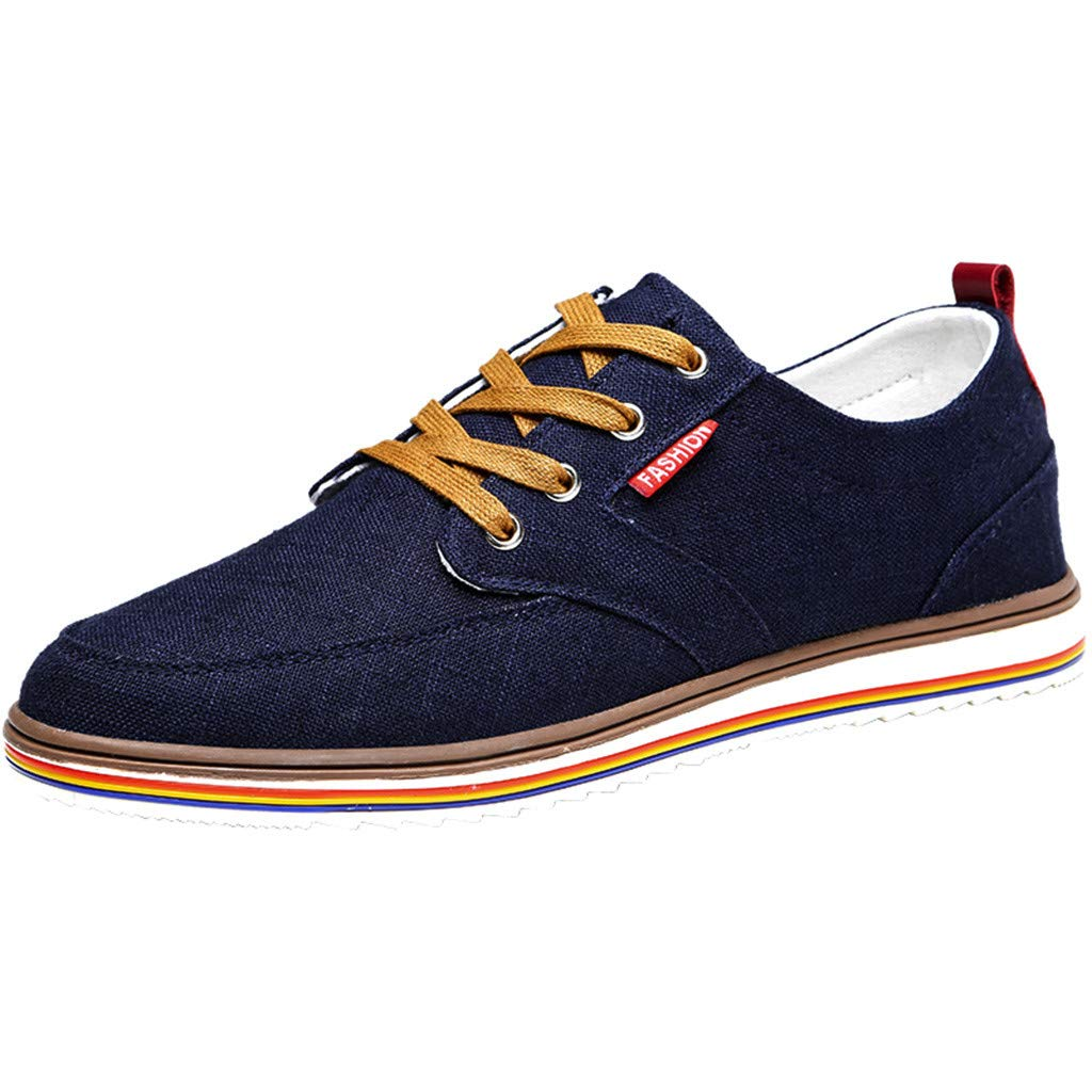【MOHOLL】 Men's Sneaker Canvas Linen Breathable Shoe Wild Lace-Up Non-Slip Shoes Casual Shoes Low Top Sneakers Dark Blue