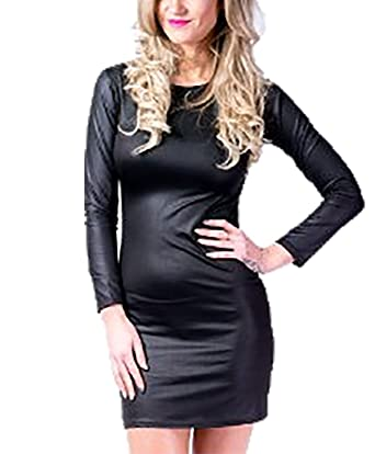 fe6143adbc46 MA ONLINE Ladies Wet Look Shiny Mini Bodycon Top Womens PU Leather Long  Sleeve Top Dress US 4-22 at Amazon Women s Clothing store