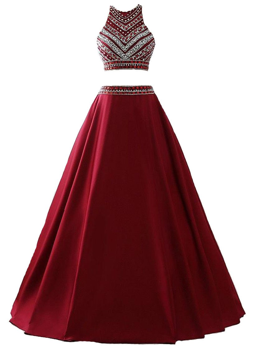 Himoda Women's Two Pieces Beaded Evening Gowns Satin Sequined Prom Dresses Long H052 8 Burgundy