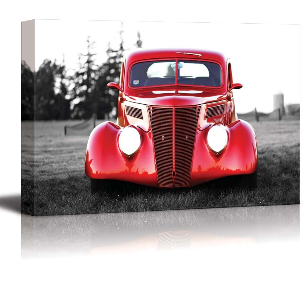 Classic Red Vintage Car Wall Decor ation - Canvas Art | Wall26