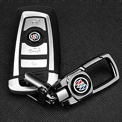 Feeke Car Wheel Tire Valve Stem Air Caps Cover and Keychain Combo Set Total 6pcs for Buick Enclave Regal Encore Lacrosse Lesabre Reatta: Automotive