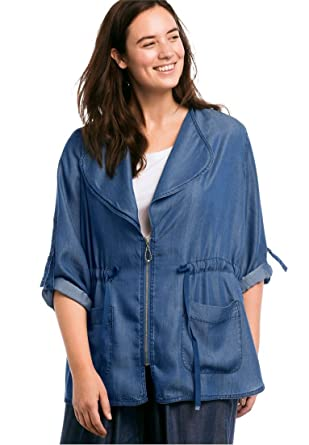 58ca5aef55c Ellos Women s Plus Size Zip Front Soft Tencel Denim Jacket - Dark  Stonewash