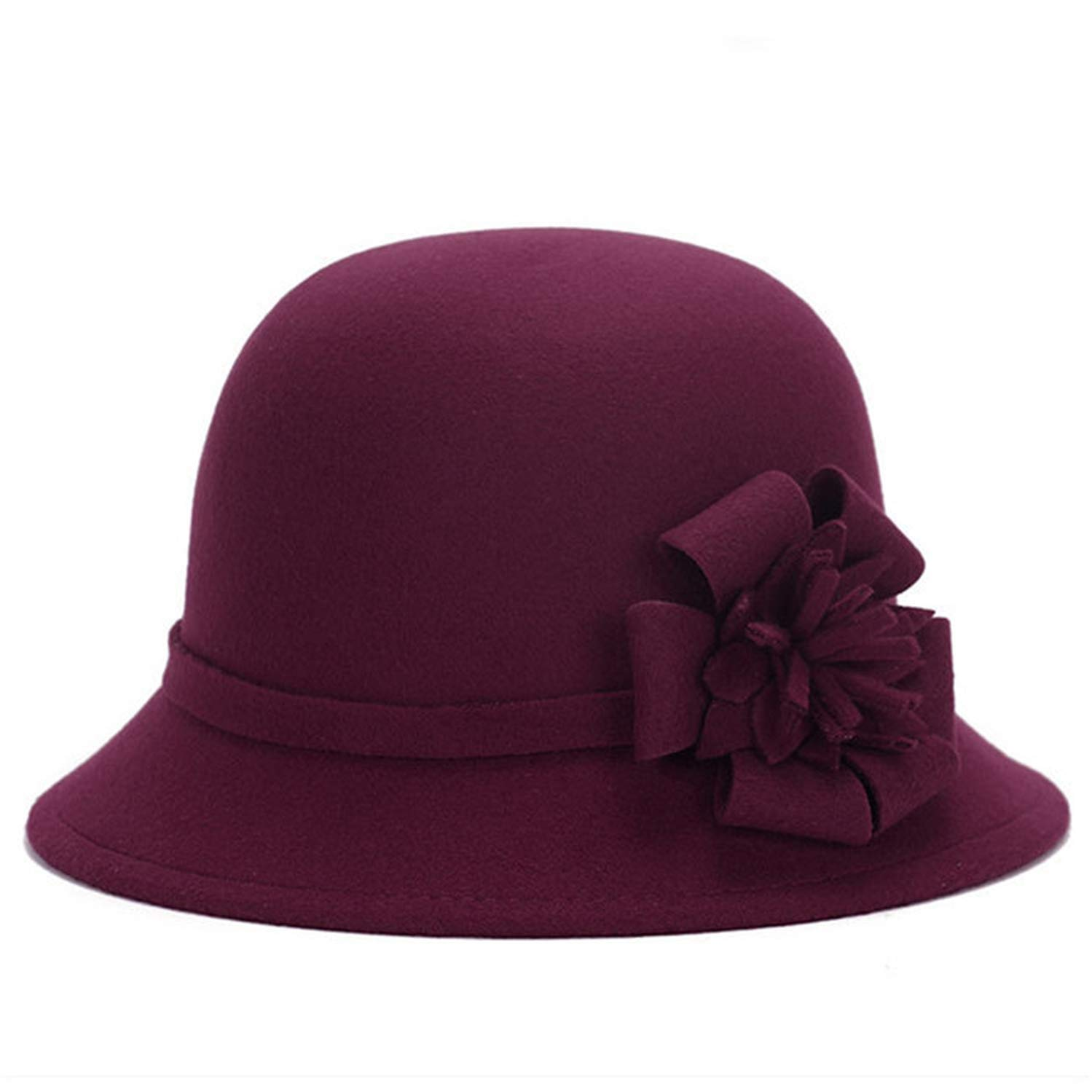 CHENTAI Women Wool Felt Fedora Flowers Hat Wide Brim Hat Autumn Winter Noble European American Cap