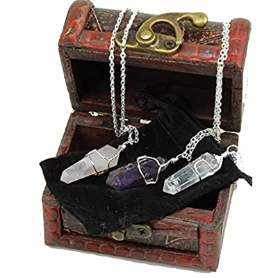 Dancing Bear Healing Crystal Pendant Necklaces (Set of 3) Master Stones: Amethyst, Rose Quartz & Clear Quartz w/ Identification Cards & Treasure Box, Positive Energy, Good Vibes, Lucky Charm, Reiki: Toys & Games