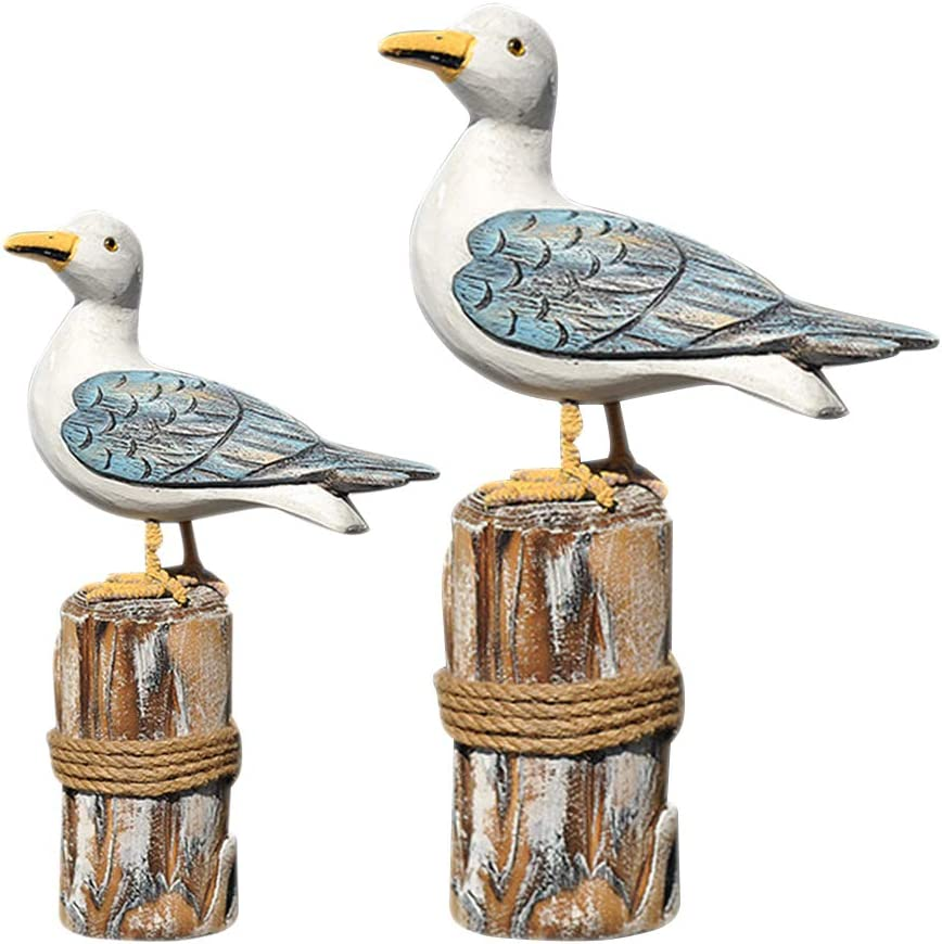 LIOOBO 2pcs Wooden Seagull Figurine Nautical Decorations Ornaments Rustic Vintage Coastal Beach Home Decorations Nautical Gifts