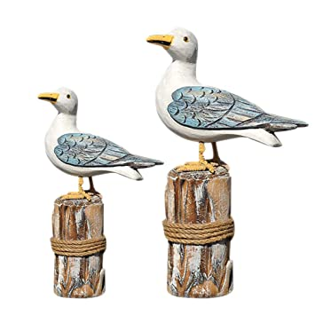 Buy Vorcool 2pcs Mediterranean Style Wood Craft Bird Shape Ornament Artistic Figurine Craft Home Tv Cabinet Decoration Gift For Living Room Bedroom Home Decoration Accessories Big And Small For 1 Set Online
