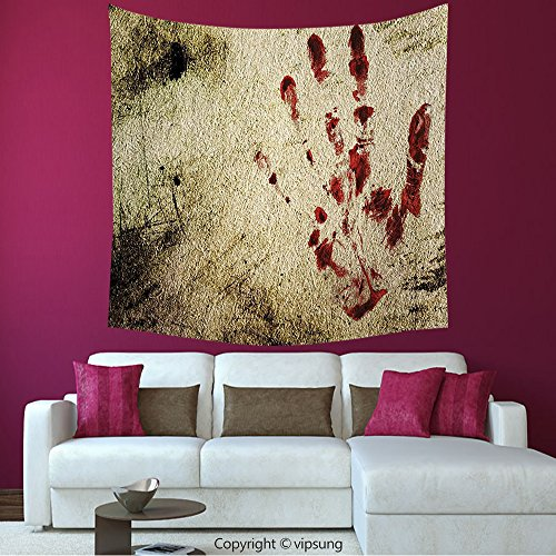 House Decor Square Tapestry-Horror House Decor Grunge Dirty Wall With Bloody Hand Print Murky Palm Trace Victim Violence Red Beige_Wall Hanging For Bedroom Living Room Dorm