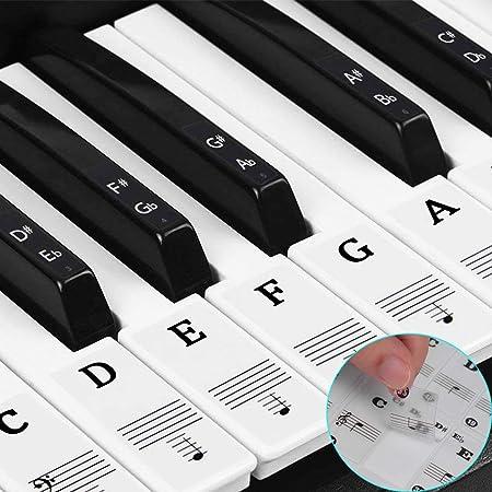 Pegatinas para teclado o piano para teclado de 37/49/54/61/88,transparentes y extraíbles, perfectas para niños y principiantes (Negro)