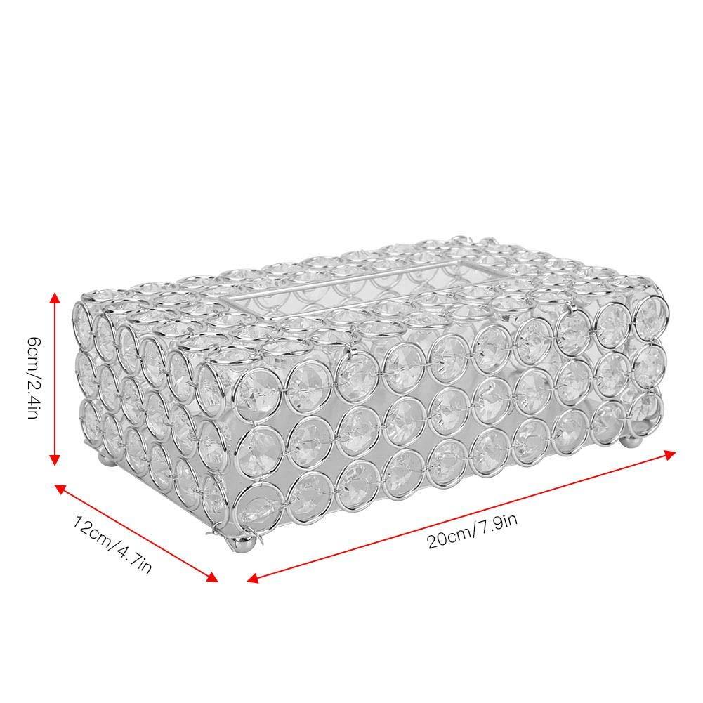 Hztyyier Crystal Tissue Box Rechteckiger dekorativer Serviettenhalter Crystal Paper Container f/ür Elegantes Home Office Dekor Gold