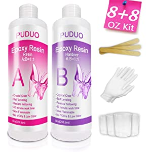 Epoxy-Resin-Crystal-Clear-Kit for Art, Jewelry, Crafts, Art & Non-Toxic Resin - 16 Ounce| Bonus 4 pcs Graduated Cups, 3pcs Sticks, 1 Pair Rubber Gloves