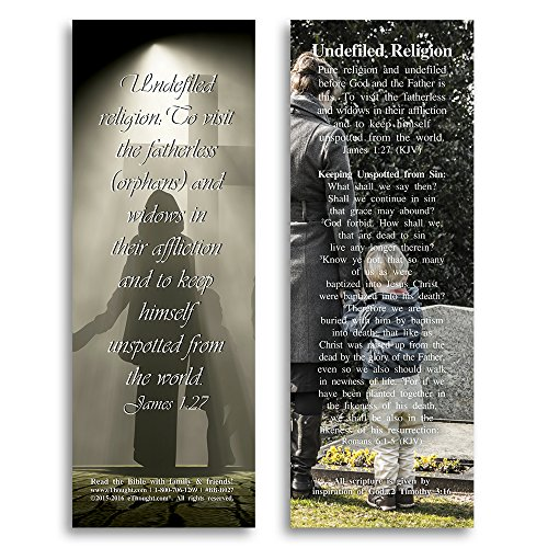 Bible Verse Cards, by eThought – James 1:27- Undefiled Religion - Pack of 25 Bookmark Size Cards for reading, study, gifts and - Is Stock What Dead