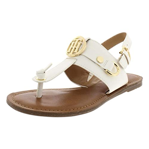 112f110e3 Image Unavailable. Image not available for. Color  Tommy Hilfiger Womens  Luvee Faux Leather T-Strap Sandals ...