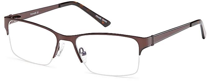 8d696b86df DALIX Half Rim Prescription Glasses Stainless Steel 53-17-143 (Matte Brown)