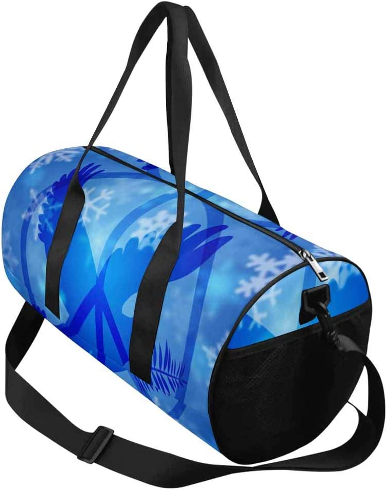 INTERESTPRINT Christmas Peace Dove Snowflakes Travel Duffel Bag with Pocket