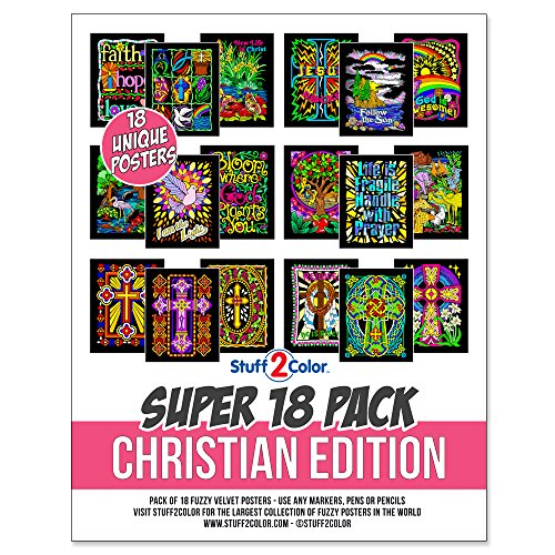 Super Pack of 18 Fuzzy Velvet Coloring Posters (Christian Edition)