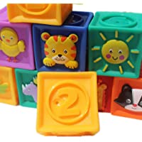 Baosity 9pcs Soft Silicon Cube Animals Numbers Blocks Stacking Kids Educational Toy