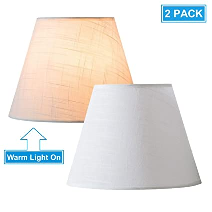Lifeholder Lamp Shade Mini 2 Pack, Small Table And Desk Lamp Shade, White  Linen