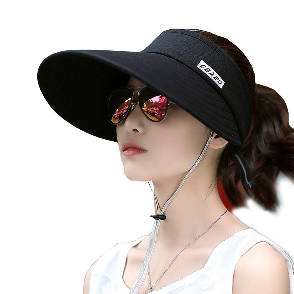 KJAHSLK Women's Summer Beach Sun Hat UV Protection Wide Brim Visor (Black 2)