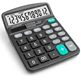 RMYU 12 Digit Desk Calculator Large Buttons Solar Desktop Calculator for School Home Office - Battery Included(Black)