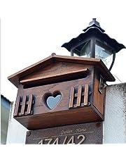 Mzl Madera Maciza Europea Villa buzón de Madera Caja de Documentos Impermeable al Aire Libre montado