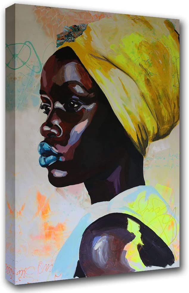 Tribal African American Canvas Wall Art Traditional African Black Girl with Yellow Tribal Dress Painting 1 Pcs Picture Wall Decor for Living Room Dorm Home Decoration Framed Ready to Hang(16''Wx24''H)