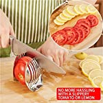 Best Utensils Tomato Slicer Lemon Cutter Multipurpose Handheld Round Fruit Tongs Stainless Steel Onion Holder Easy Slicing Kiwi Fruits & Vegetable Tools Kitchen Cutting Aid Gadgets Tool 13 GERMANY DESIGN: Unique germany design makes slicing fruits and vegetables more quickly and easily MULTI-PURPOSE: Conveniently designed slicing aid, perfect tool for any task in the kitchen, ideal for tomatoes, onions, lemon, citrus fruit & more! DURABLE & SAFETY: Made of 100% food grade 18/8 Stainless steel Material, eco-friendly, durable in use. Clamp design, multifunctional, also couble be used as food tongs.