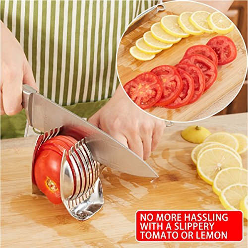Tomato Slicer Lemon Cutter Stainless Steel Multipurpose Round Fruit Tongs Onion Holder Easy Slicing Kiwi Fruits & Vegetable Tools Kitchen Cutting Helper Clamp, Dishwasher Safe by Spotact (Image #5)