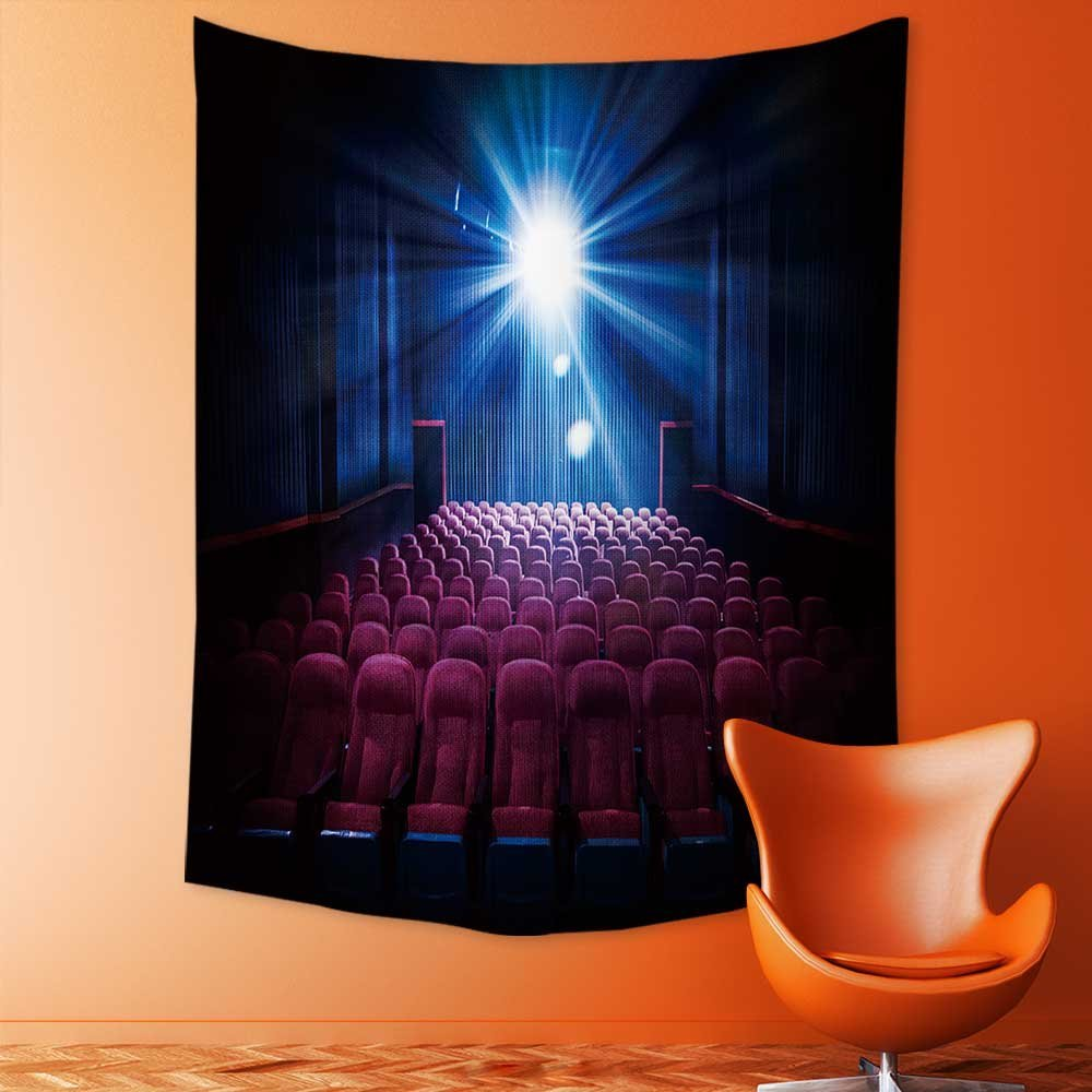 SCOCICI1588 Polyester Tapestry Wall Hanging Movie Theater with empty seats and projector High contrast image Wall Decor for Bedroom Living Room Dorm 60W x 80L INCH