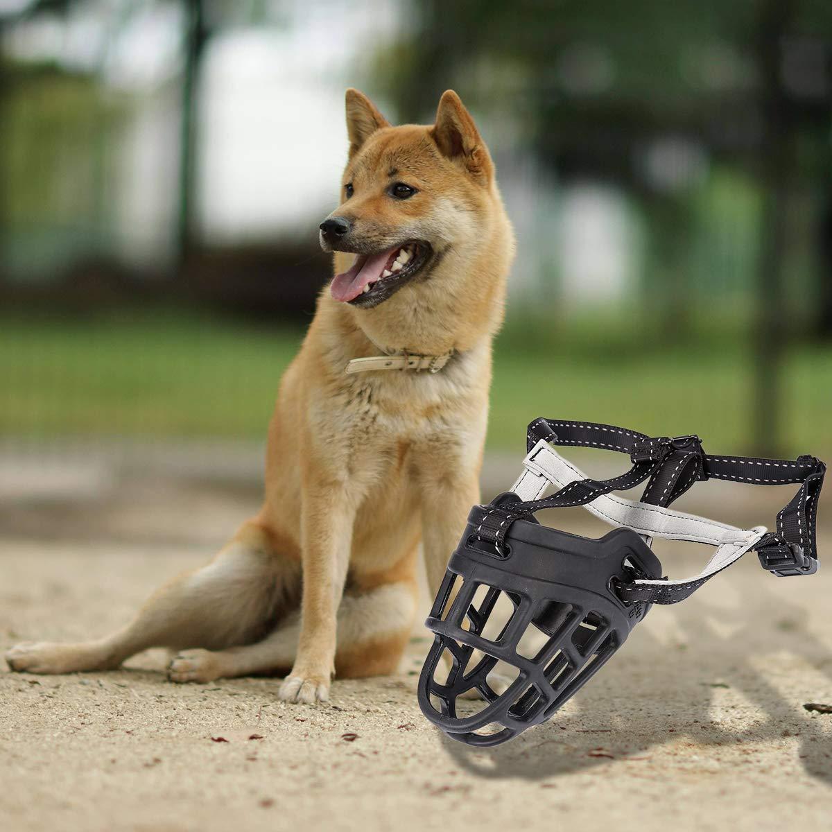 Wei Xi Bozal de Perro, Cesta Ajustable Suave de Silicona, bozales para Perros, Mejor para Evitar Que se mueva, Corte, Permite Beber Pan, Cuello Usado: ...