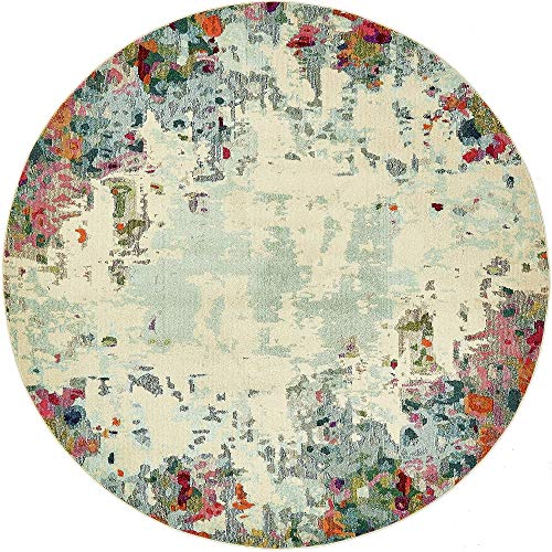 Unique Loom Chromatic Collection Modern Abstract Colorful Multi Round Rug (8' 0 x 8' - Round Rug Multi 8 Area