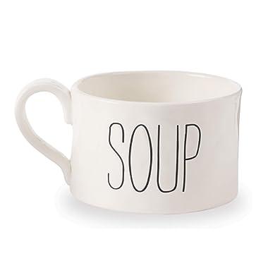 Mud Pie 43600006S Farmhouse Oversize Soup Mug, One Size, White