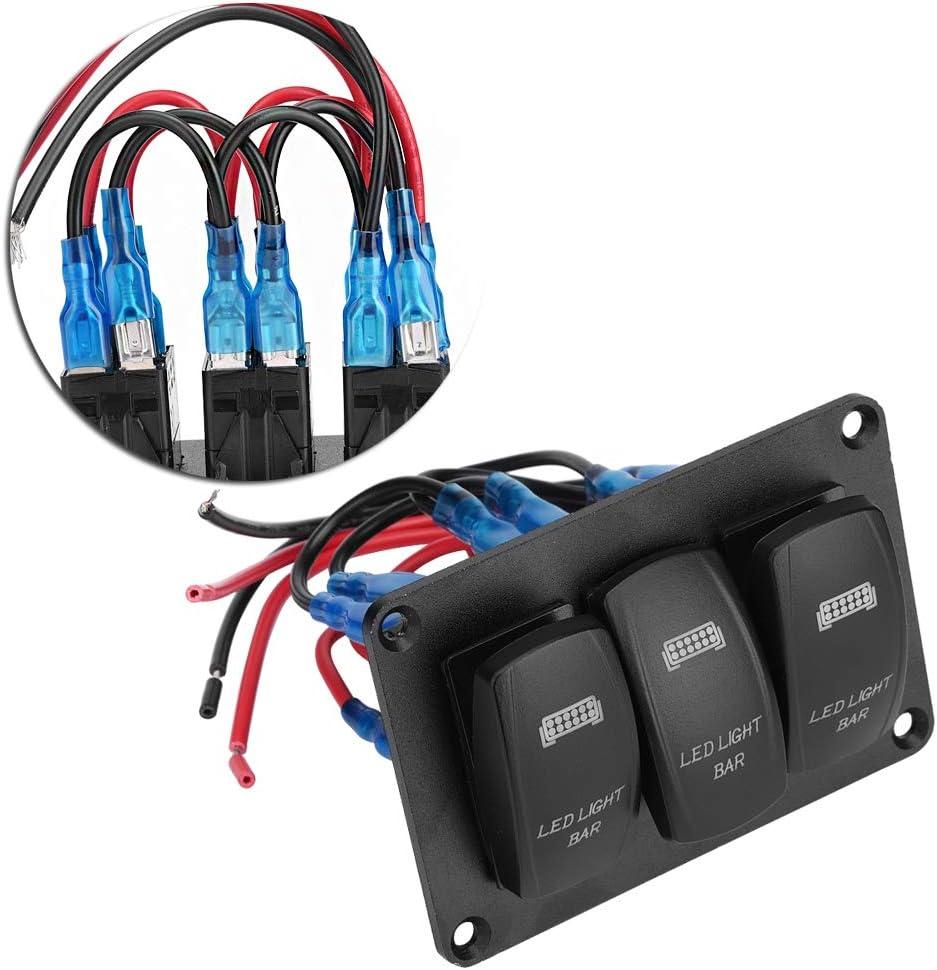 EBTOOLS 3 Positions Bleu Marine Voiture Bateau Double Interrupteur LED Arri/ère Barre de Lumi/ère Rouge Bleu vert Panneau de Commutateur /à Bascule