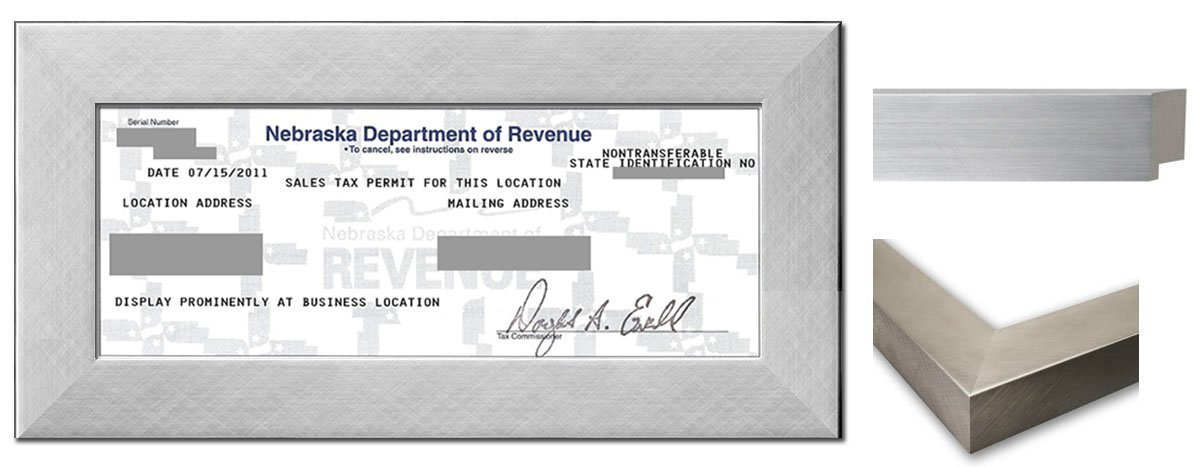 Sales Tax Certificate Wood Frame - 8.5 x 3.5 Inches - Stainless Steel Wood