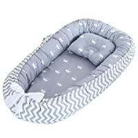 Borje Baby Lounger, Portable Super Soft Organic Cotton and Breathable Newborn Lounger, Perfect for Co-Sleeping (Crown)