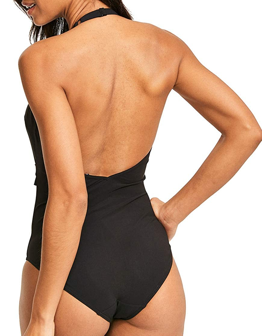 Figleaves Womens Icon Marseille Belted Plunge One Piece Bathing Suit Size 10 Regular in Black