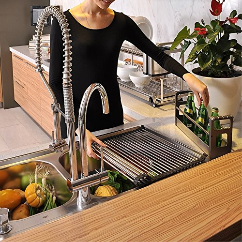 Over the Sink Kitchen Dish Drainer Rack, Extra Large Multipurpose Dish Drying Drainer (20Lx18.5W, Black)