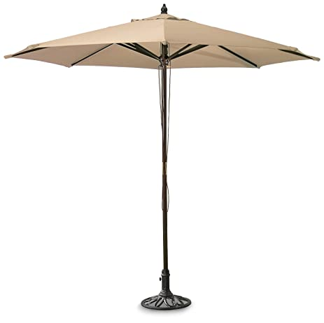 Guide Gear 9u0027 Market Patio Umbrella With Pulley System Hardwood Pole, Khaki