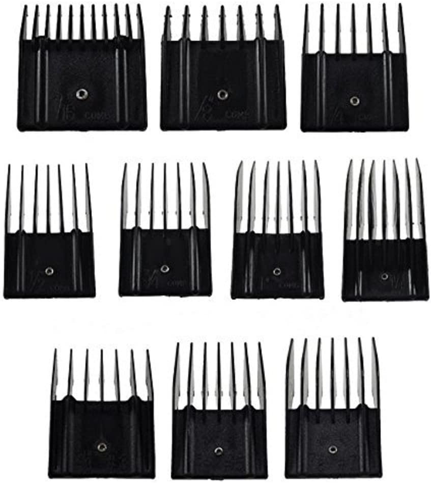 Miaco Universal Clipper Guide Comb Guard Set, 10 Pieces, Fits Oster Classic 76, A5, Andis AG, BG, Wahl, etc