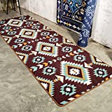 European-style National Geometric Carpets/Kitchen Bedside Long Carpet/Home Room Bedroom Non-slip Short Mat-B 80x240cm(31x94inch)