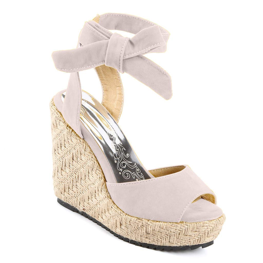 Respctful✿Wedge Sandals for Women's Fashion Flatform Espadrilles Ankle Strap Buckle Open Toe Faux High Heels Beige by Respctful_shoes (Image #4)