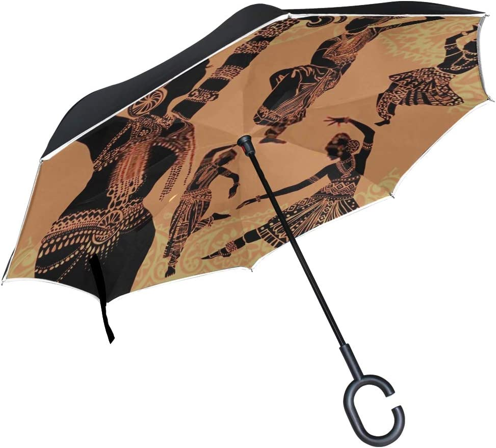 Double Layer Inverted Inverted Umbrella Is Light And Sturdy Indian Woman Reverse Umbrella And Windproof Umbrella Edge Night Reflection