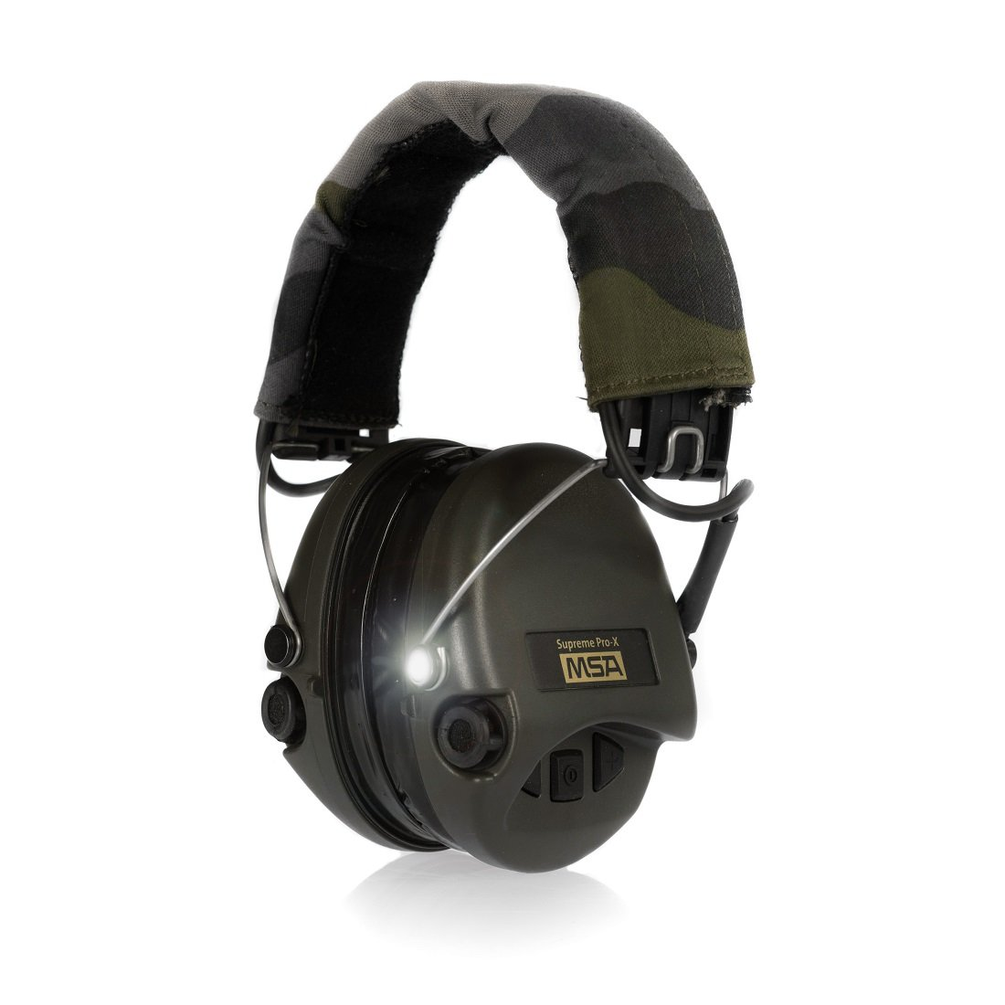 MSA Sordin Supreme Pro X with LED Light - Electronic EarMuff with camo-band, green cups and gel seals fitted by Sordin