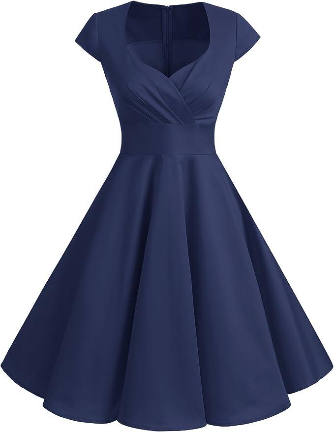 TALLA 3XL. Bbonlinedress Vestido Corto Mujer Retro Años 50 Vintage Escote Navy 3XL