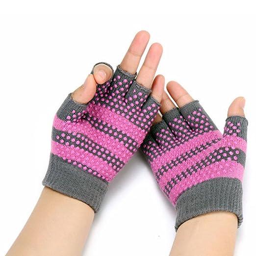 aquiver suave guantes de Yoga antideslizante sin dedos para gimnasio cuerpo edificio formación deportes, rosa